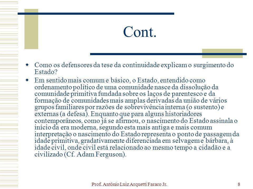 Prof. Antônio Luiz Arquetti Faraco Jr.8 Cont. Como os defensores da tese da continuidade explicam o surgimento do Estado? Em sentido mais comum e bási