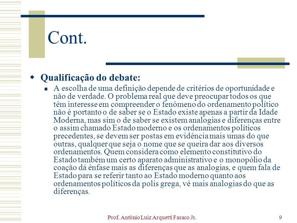 Prof. Antônio Luiz Arquetti Faraco Jr.9 Cont. Qualificação do debate: A escolha de uma definição depende de critérios de oportunidade e não de verdade