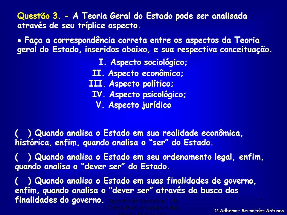 Questões do Simulado n.º 1 de Ciência Política/Teoria Geral do Estado. Abril de 2001. 6 Adhemar Bernardes Antunes Assinale a alternativa correta:- a)