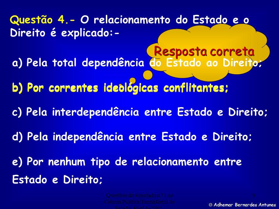 Questões do Simulado n.º 1 de Ciência Política/Teoria Geral do Estado. Abril de 2001. 8 Adhemar Bernardes Antunes Assinale a alternativa correta, nume