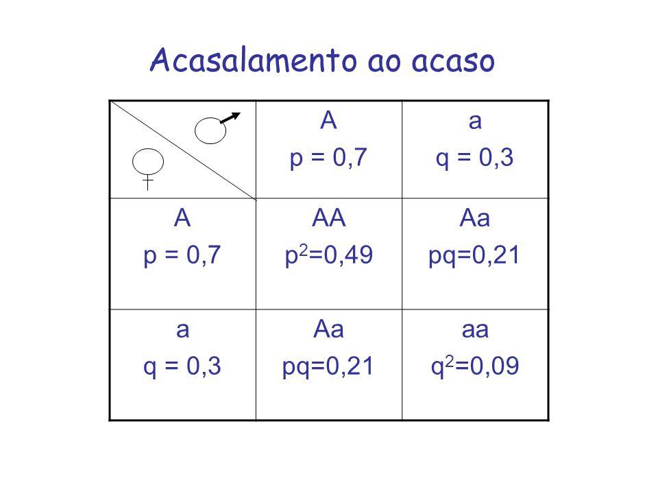 Acasalamento ao acaso A p = 0,7 a q = 0,3 A p = 0,7 AA p 2 =0,49 Aa pq=0,21 a q = 0,3 Aa pq=0,21 aa q 2 =0,09