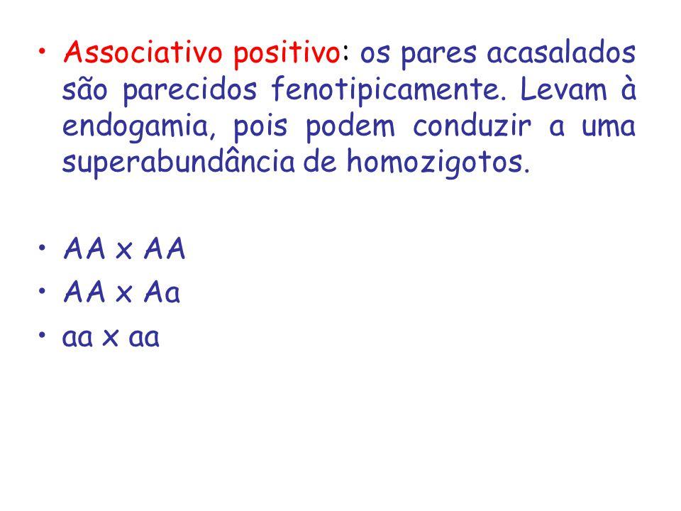 Associativo positivo: os pares acasalados são parecidos fenotipicamente. Levam à endogamia, pois podem conduzir a uma superabundância de homozigotos.