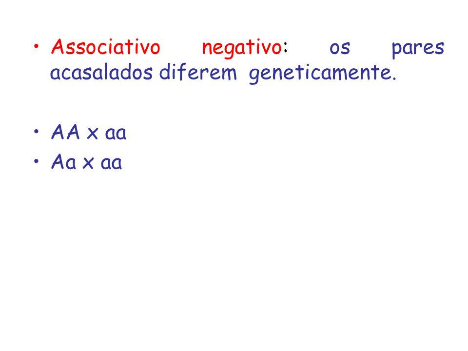 Associativo negativo: os pares acasalados diferem geneticamente. AA x aa Aa x aa