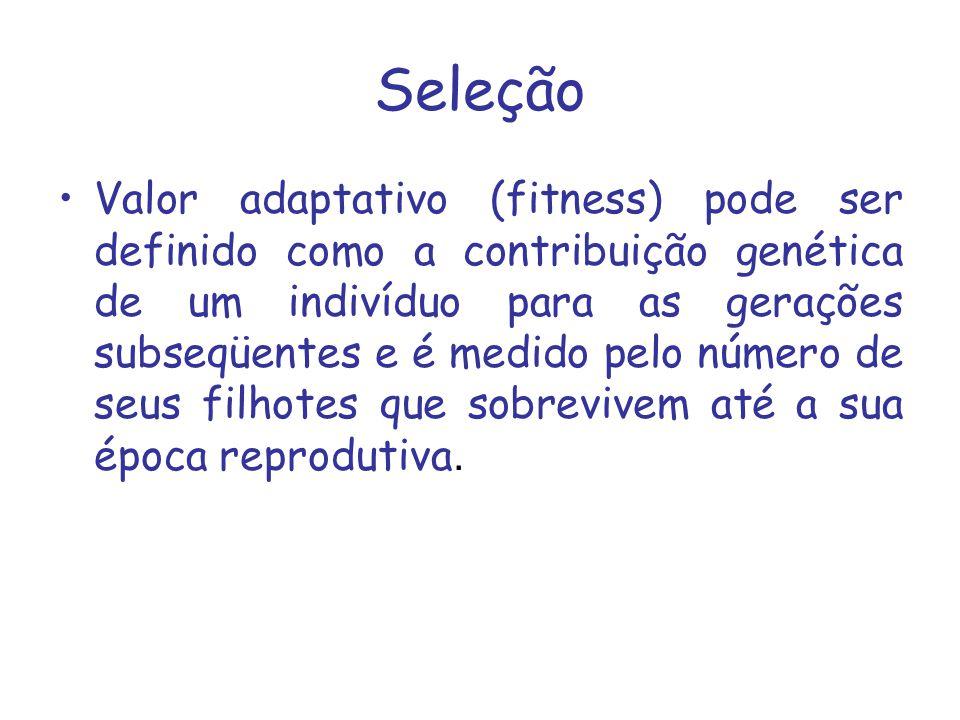 Seleção Valor adaptativo (fitness) pode ser definido como a contribuição genética de um indivíduo para as gerações subseqüentes e é medido pelo número