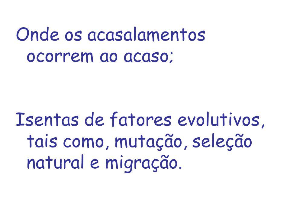Onde os acasalamentos ocorrem ao acaso; Isentas de fatores evolutivos, tais como, mutação, seleção natural e migração.