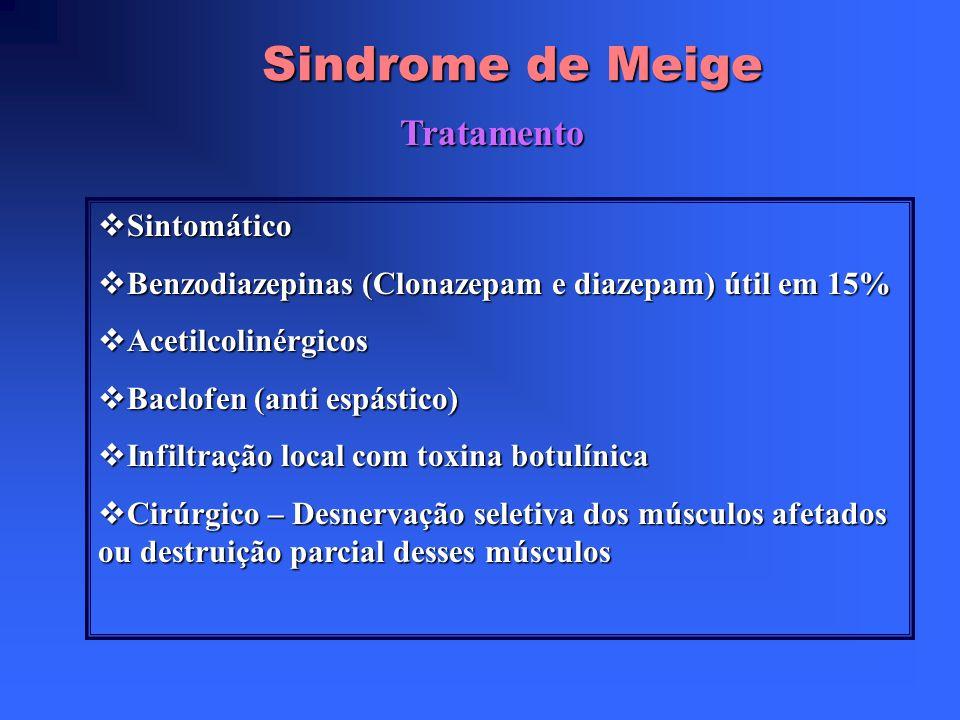 Sindrome de Meige Diagnóstico Diferencial Degeneração hepatolenticular – Doença de Wilson Degeneração hepatolenticular – Doença de Wilson Doença de Ha