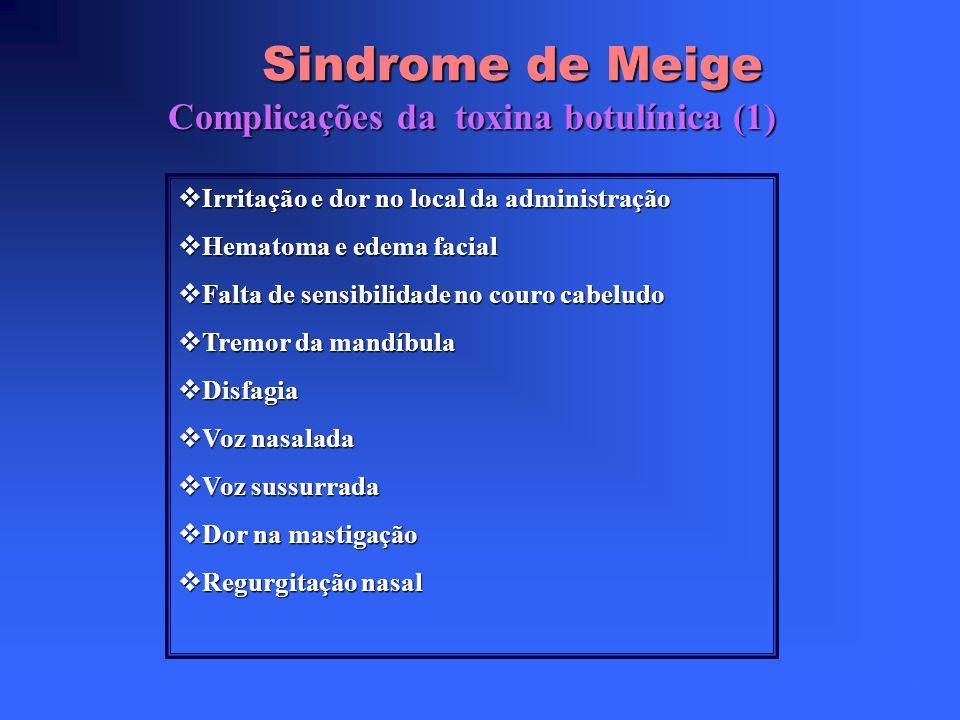 Sindrome de Meige Tratamento Sintomático Sintomático Benzodiazepinas (Clonazepam e diazepam) útil em 15% Benzodiazepinas (Clonazepam e diazepam) útil