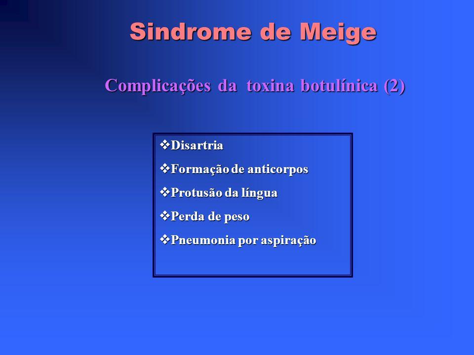 Sindrome de Meige Complicações da toxina botulínica (1) Irritação e dor no local da administração Irritação e dor no local da administração Hematoma e
