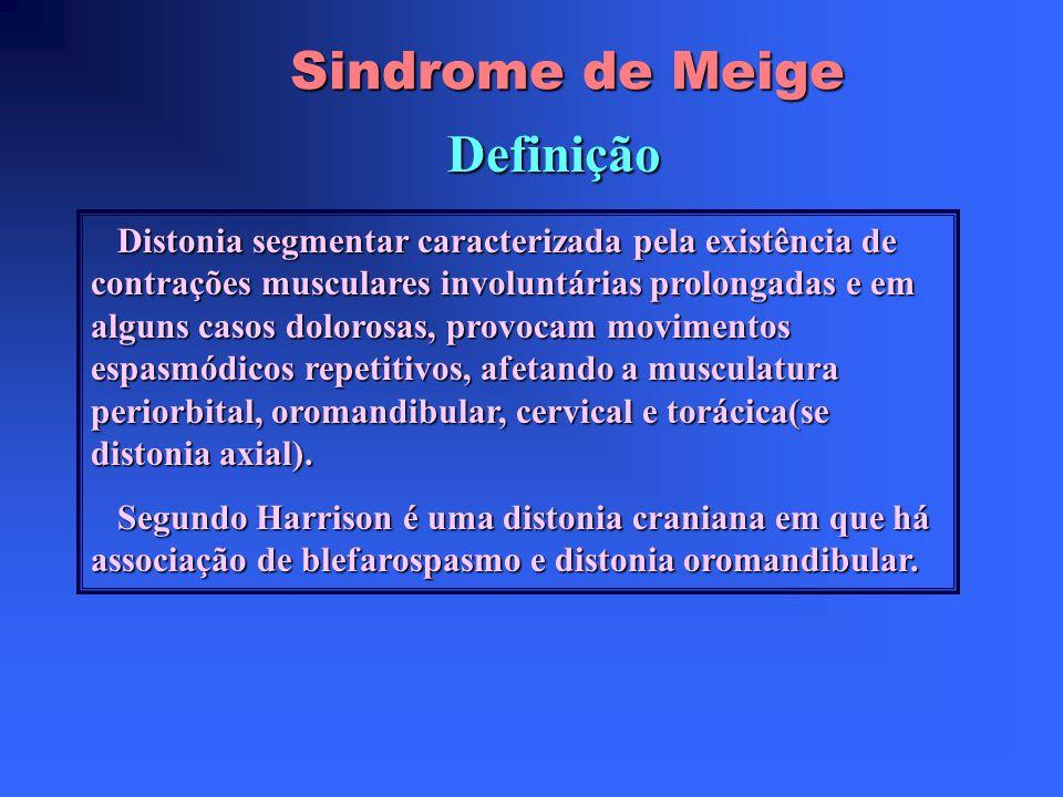 Sindrome de Meige Definição Distonia segmentar caracterizada pela existência de contrações musculares involuntárias prolongadas e em alguns casos dolorosas, provocam movimentos espasmódicos repetitivos, afetando a musculatura periorbital, oromandibular, cervical e torácica(se distonia axial).