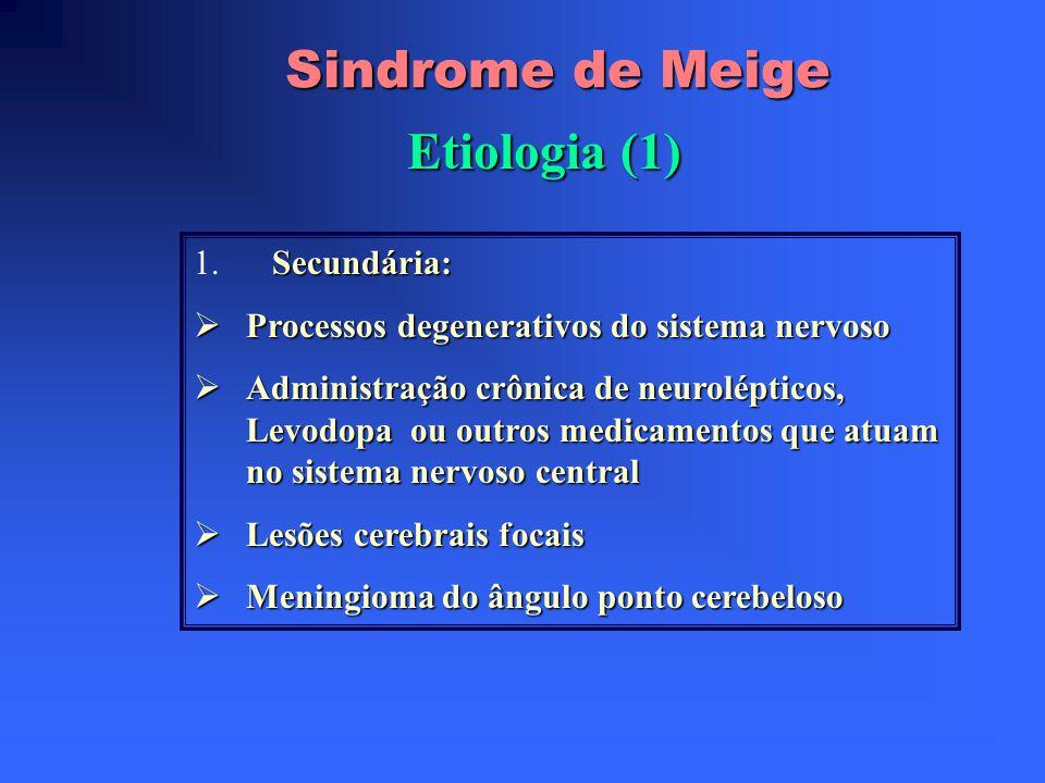Sindrome de Meige Epidemiologia das distonias focais Estudos : Segóvia : 300/1.000.000 hab. (9/100.000 são cervicais Clínica de Mayo, Rochester, Mines