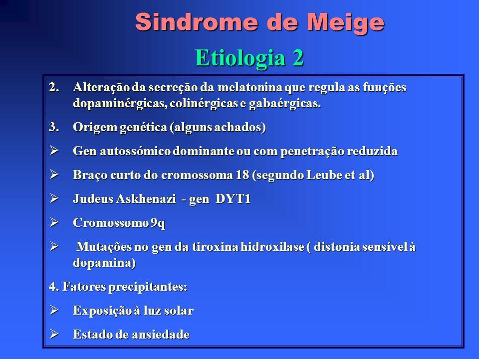 Sindrome de Meige Etiologia 2 2.Alteração da secreção da melatonina que regula as funções dopaminérgicas, colinérgicas e gabaérgicas.