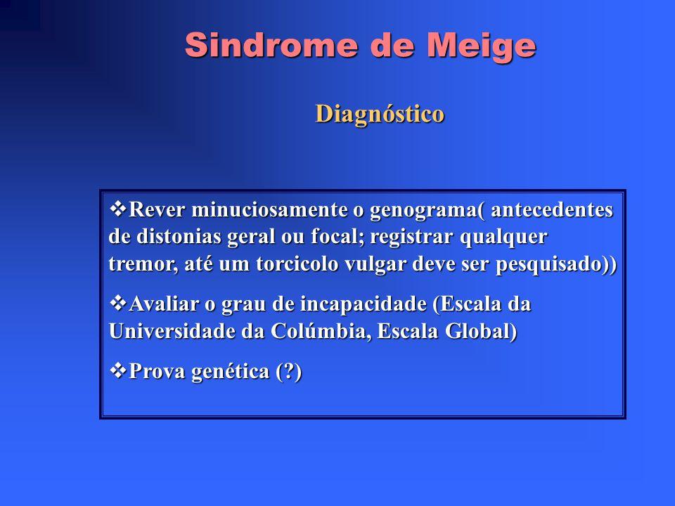 Sindrome de Meige Espasmos distônicos e bilaterais da musculatura craneo facial : Bleferospasmo Bleferospasmo Encerramento forçado da mandíbula (tipo