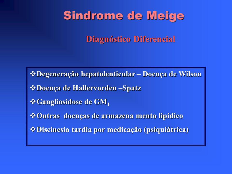 Sindrome de Meige Diagnóstico Rever minuciosamente o genograma( antecedentes de distonias geral ou focal; registrar qualquer tremor, até um torcicolo