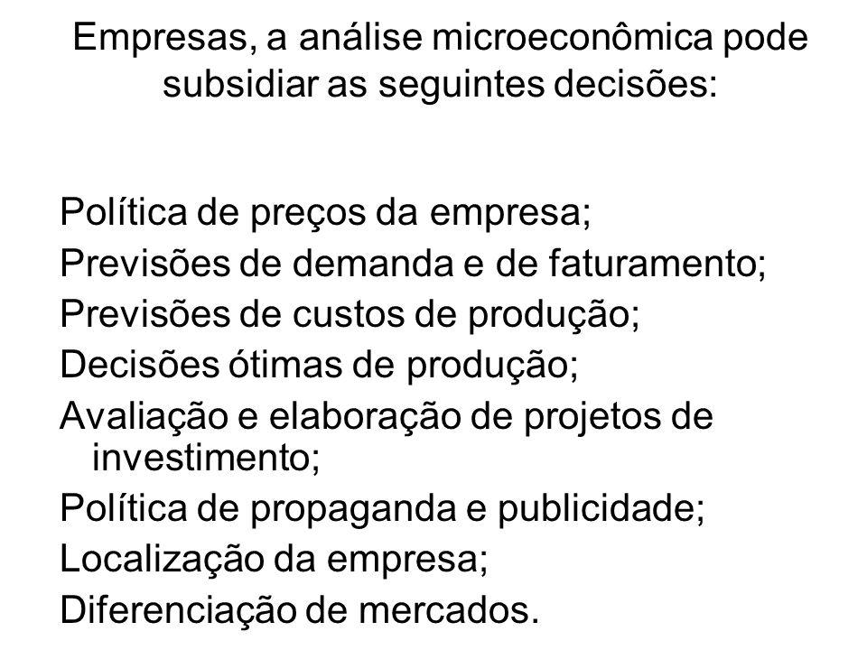 Empresas, a análise microeconômica pode subsidiar as seguintes decisões: Política de preços da empresa; Previsões de demanda e de faturamento; Previsõ