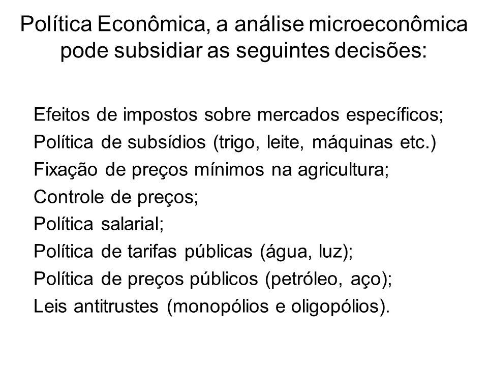 Política Econômica, a análise microeconômica pode subsidiar as seguintes decisões: Efeitos de impostos sobre mercados específicos; Política de subsídi