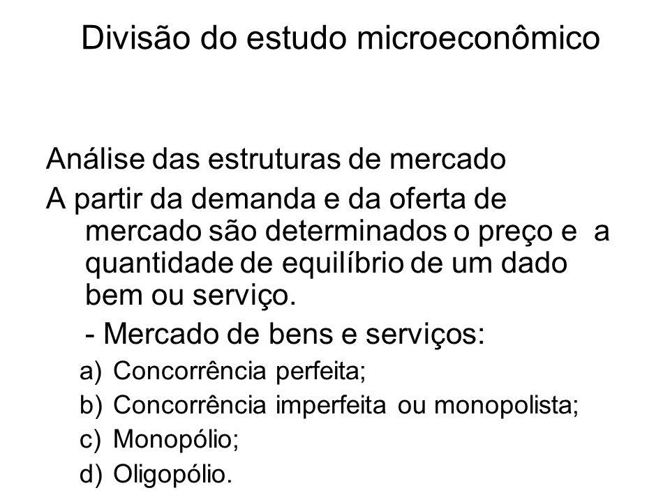 Divisão do estudo microeconômico Análise das estruturas de mercado A partir da demanda e da oferta de mercado são determinados o preço e a quantidade