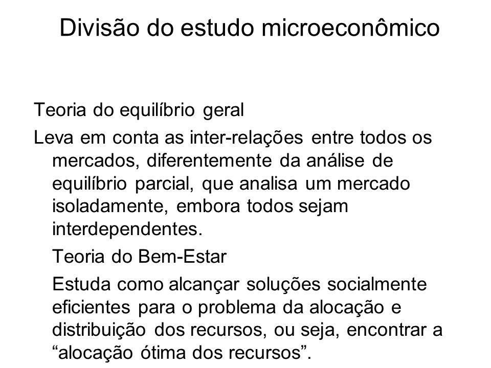 Divisão do estudo microeconômico Teoria do equilíbrio geral Leva em conta as inter-relações entre todos os mercados, diferentemente da análise de equi