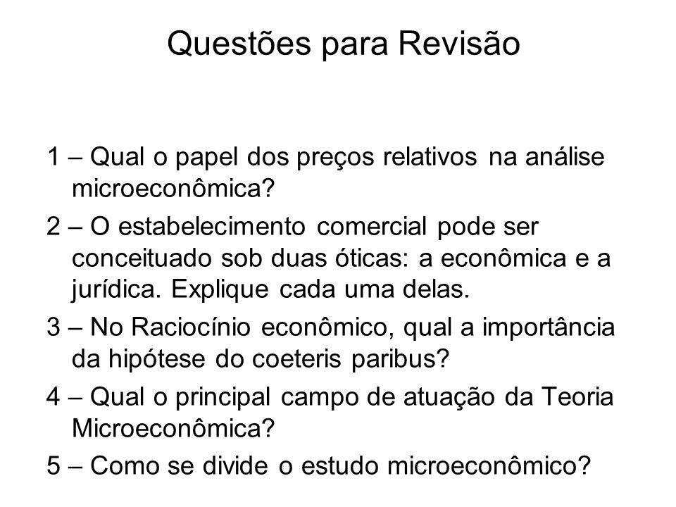 Questões para Revisão 1 – Qual o papel dos preços relativos na análise microeconômica? 2 – O estabelecimento comercial pode ser conceituado sob duas ó