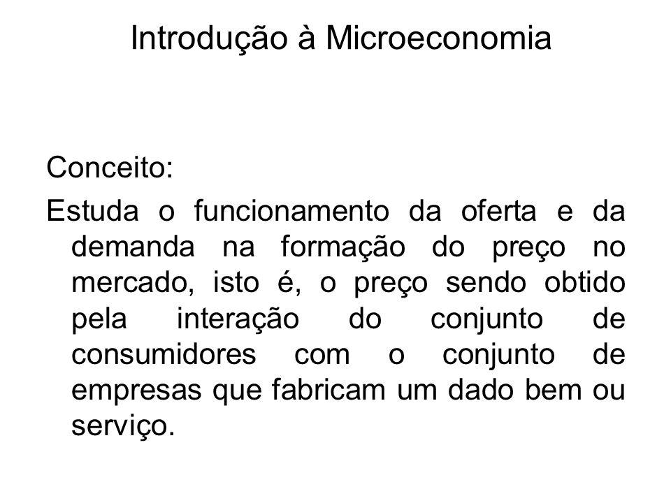 Introdução à Microeconomia Conceito: Estuda o funcionamento da oferta e da demanda na formação do preço no mercado, isto é, o preço sendo obtido pela