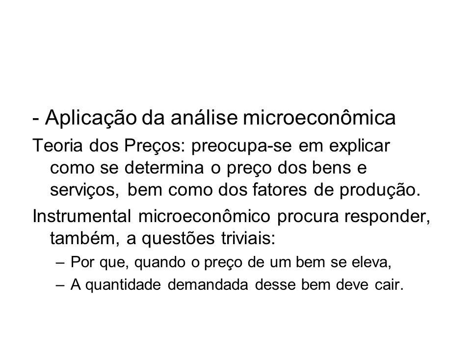 - Aplicação da análise microeconômica Teoria dos Preços: preocupa-se em explicar como se determina o preço dos bens e serviços, bem como dos fatores d