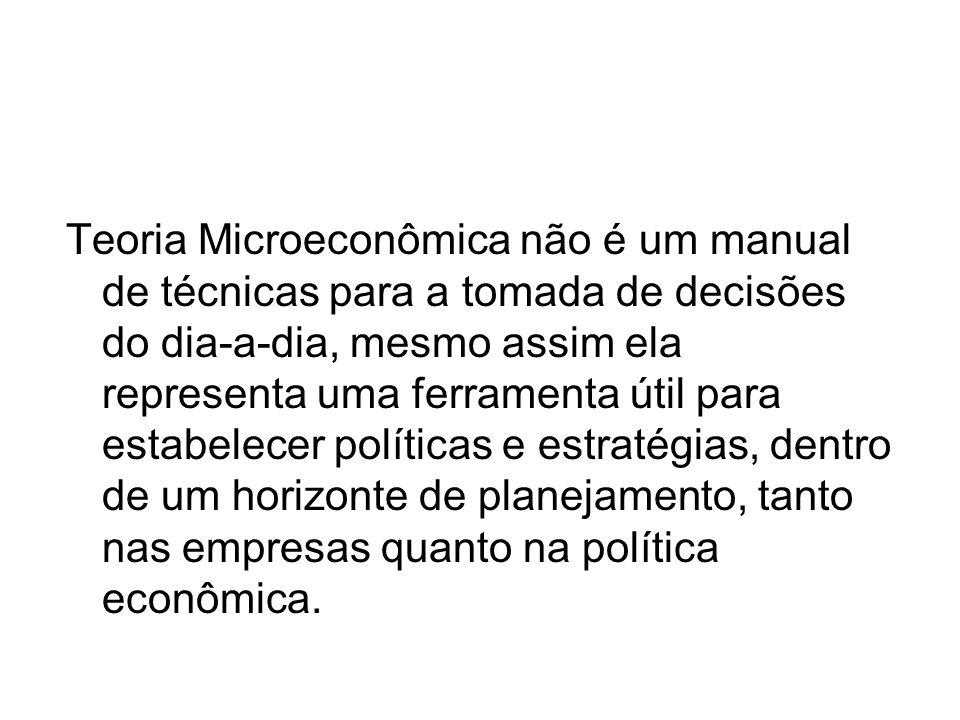 Teoria Microeconômica não é um manual de técnicas para a tomada de decisões do dia-a-dia, mesmo assim ela representa uma ferramenta útil para estabele