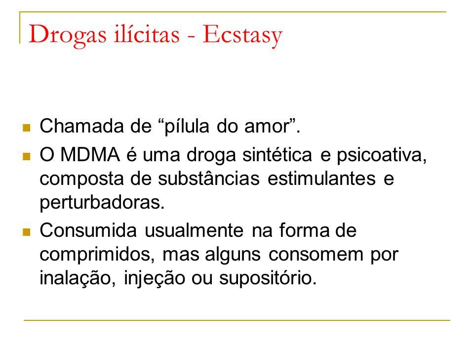 Drogas ilícitas - Ecstasy Chamada de pílula do amor.