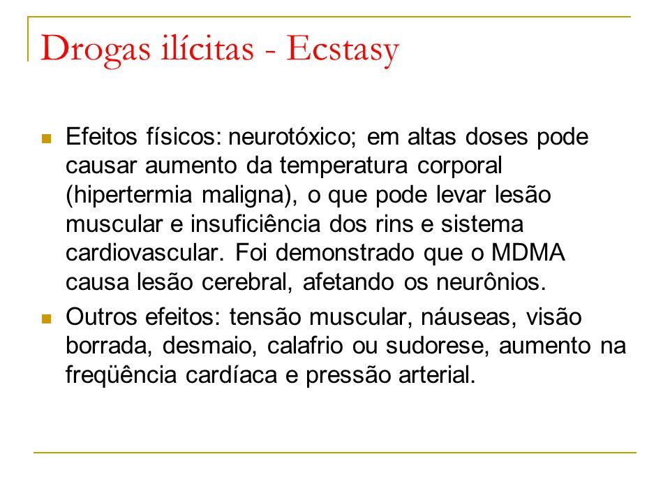 Drogas ilícitas - Ecstasy Efeitos físicos: neurotóxico; em altas doses pode causar aumento da temperatura corporal (hipertermia maligna), o que pode levar lesão muscular e insuficiência dos rins e sistema cardiovascular.
