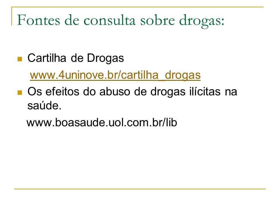 Fontes de consulta sobre drogas: Cartilha de Drogas www.4uninove.br/cartilha_drogas Os efeitos do abuso de drogas ilícitas na saúde.