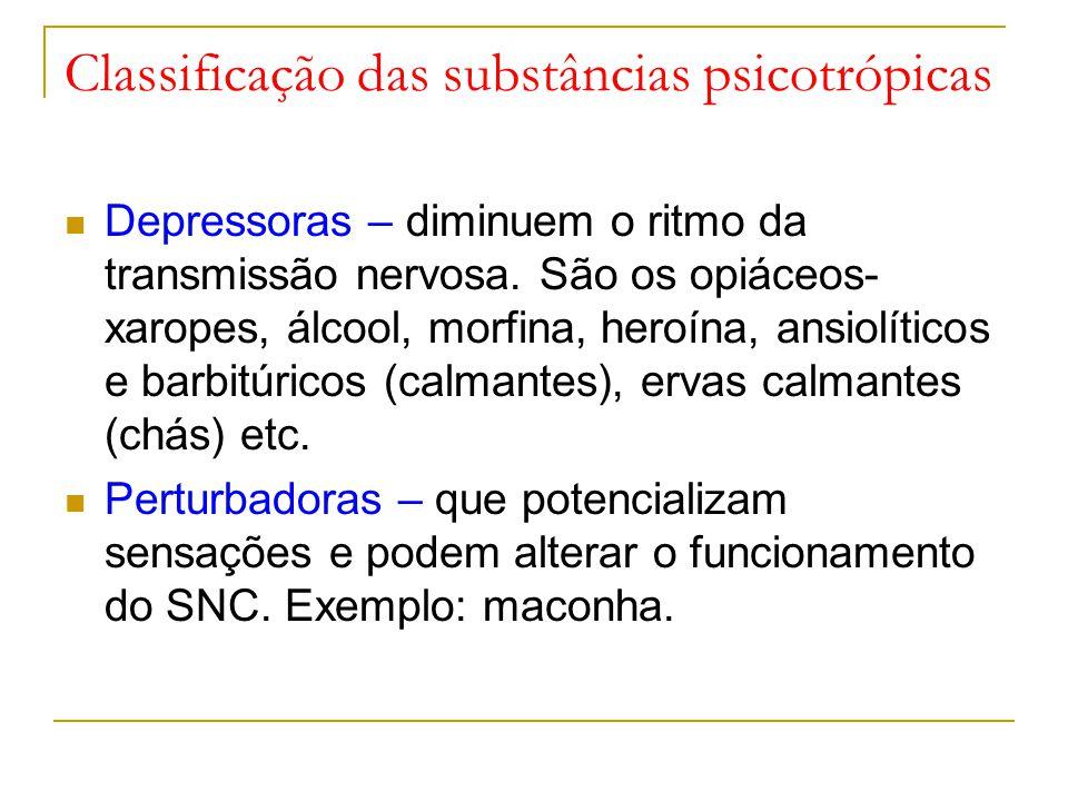Classificação das substâncias psicotrópicas Depressoras – diminuem o ritmo da transmissão nervosa.