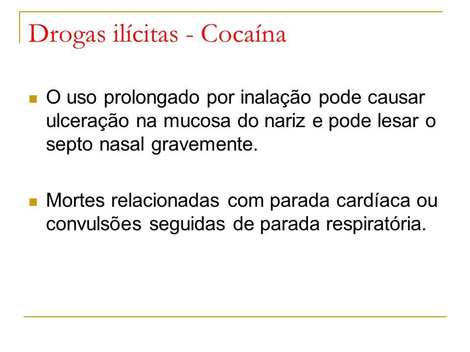 Drogas ilícitas - Cocaína O uso prolongado por inalação pode causar ulceração na mucosa do nariz e pode lesar o septo nasal gravemente.