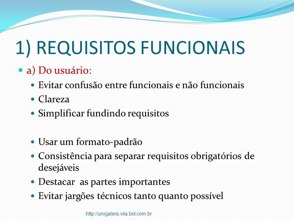 1) REQUISITOS FUNCIONAIS a) Do usuário: Evitar confusão entre funcionais e não funcionais Clareza Simplificar fundindo requisitos Usar um formato-padr