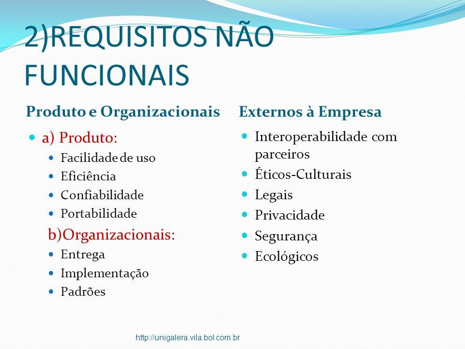 2)REQUISITOS NÃO FUNCIONAIS Produto e Organizacionais Externos à Empresa a) Produto: Facilidade de uso Eficiência Confiabilidade Portabilidade b)Organ