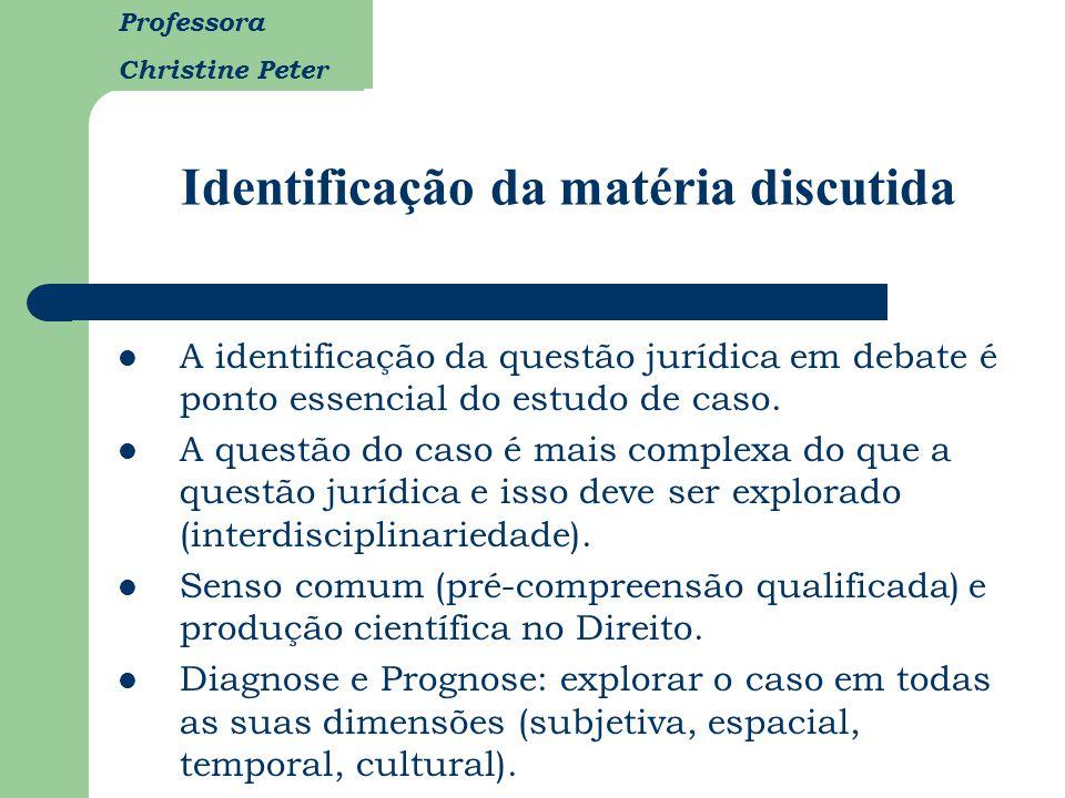 Professora Christine Peter Identificação da matéria discutida A identificação da questão jurídica em debate é ponto essencial do estudo de caso. A que