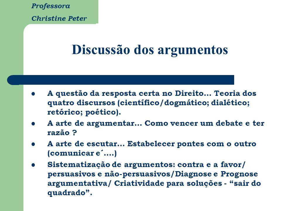 Professora Christine Peter Discussão dos argumentos A questão da resposta certa no Direito... Teoria dos quatro discursos (científico/dogmático; dialé