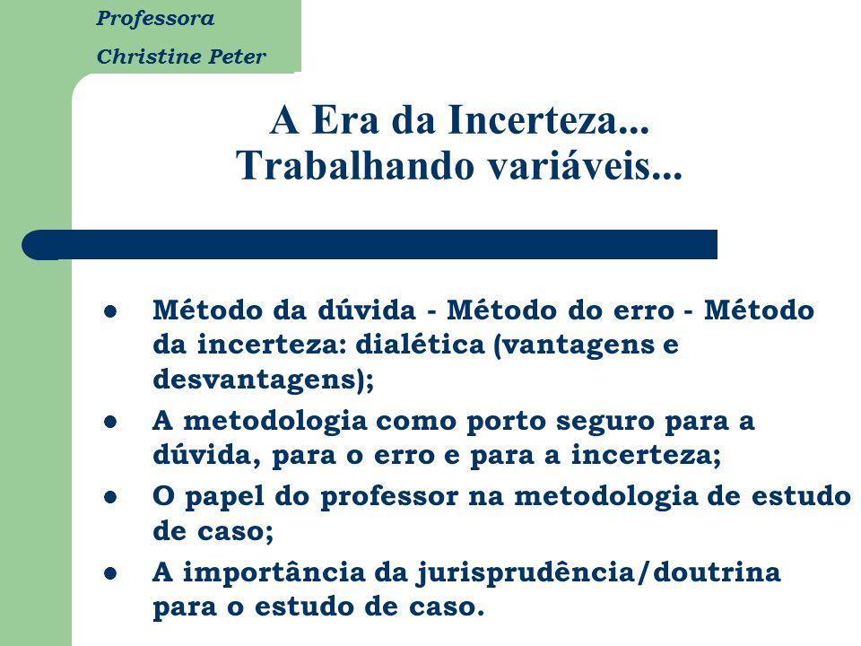 Professora Christine Peter A Era da Incerteza... Trabalhando variáveis... Método da dúvida - Método do erro - Método da incerteza: dialética (vantagen