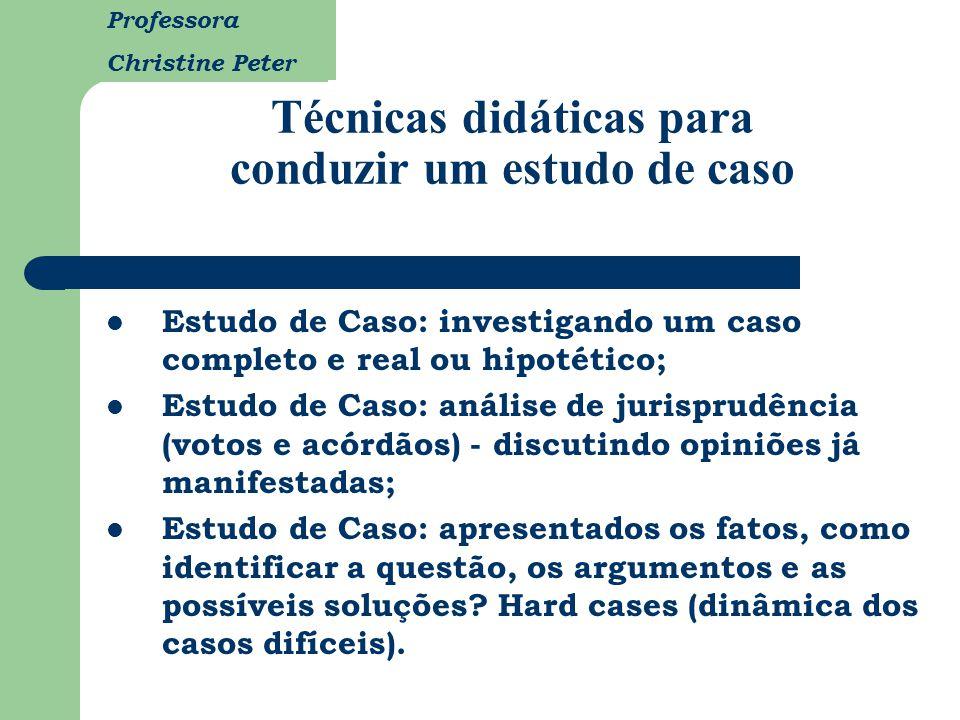 Professora Christine Peter Técnicas didáticas para conduzir um estudo de caso Estudo de Caso: investigando um caso completo e real ou hipotético; Estu