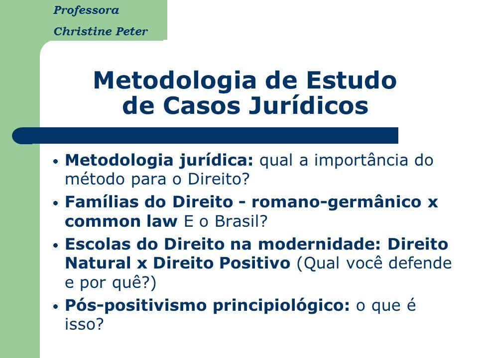 Professora Christine Peter Metodologia de Estudo de Casos Jurídicos Metodologia jurídica: qual a importância do método para o Direito? Famílias do Dir