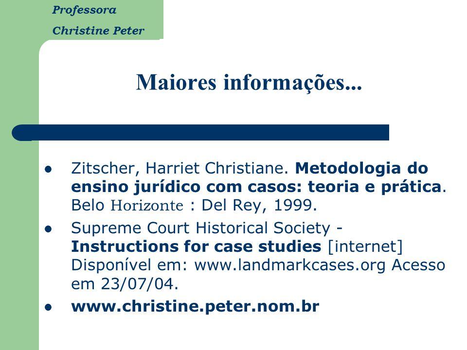 Professora Christine Peter Maiores informações... Zitscher, Harriet Christiane. Metodologia do ensino jurídico com casos: teoria e prática. Belo Horiz