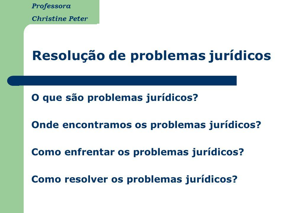 Professora Christine Peter Resolução de problemas jurídicos O que são problemas jurídicos? Onde encontramos os problemas jurídicos? Como enfrentar os