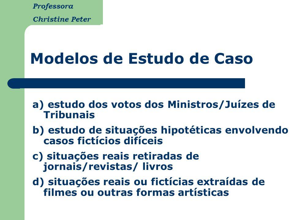 Professora Christine Peter a) estudo dos votos dos Ministros/Juízes de Tribunais b) estudo de situações hipotéticas envolvendo casos fictícios difícei