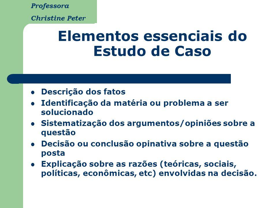 Professora Christine Peter Elementos essenciais do Estudo de Caso Descrição dos fatos Identificação da matéria ou problema a ser solucionado Sistemati