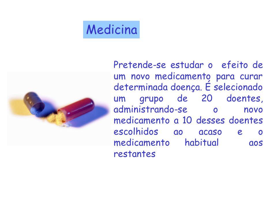 Medicina Pretende-se estudar o efeito de um novo medicamento para curar determinada doença. É selecionado um grupo de 20 doentes, administrando-se o n