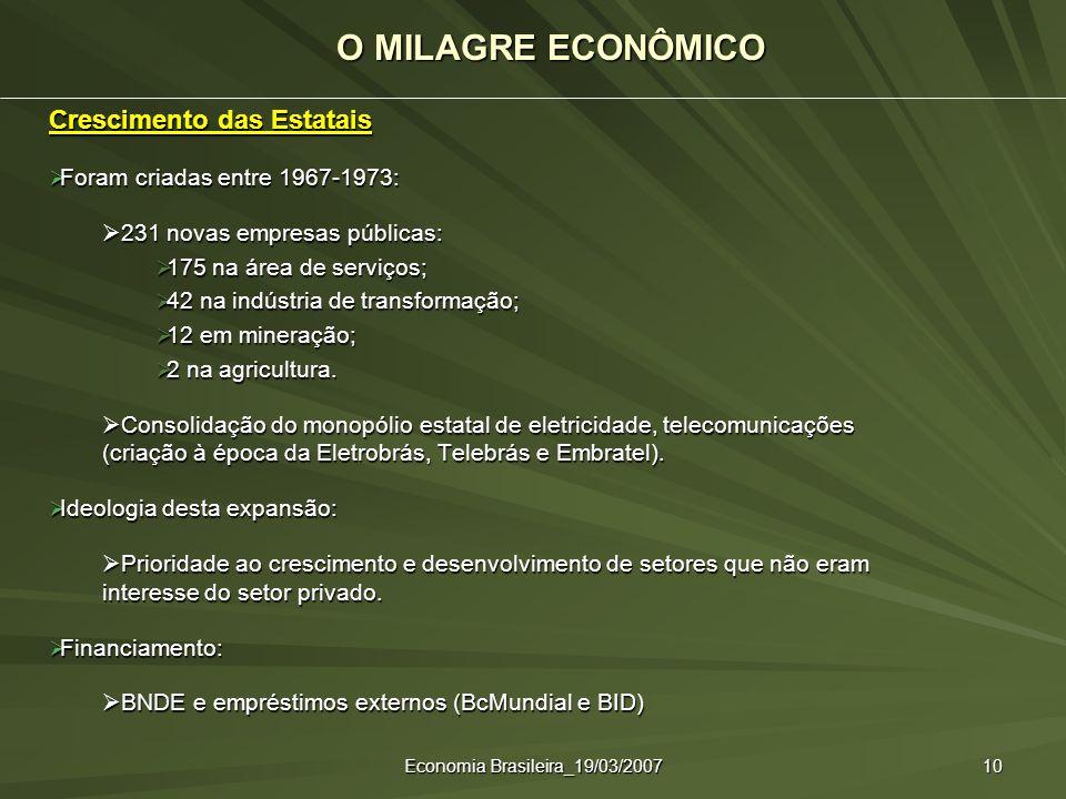 Economia Brasileira_19/03/2007 10 Crescimento das Estatais Foram criadas entre 1967-1973: Foram criadas entre 1967-1973: 231 novas empresas públicas:
