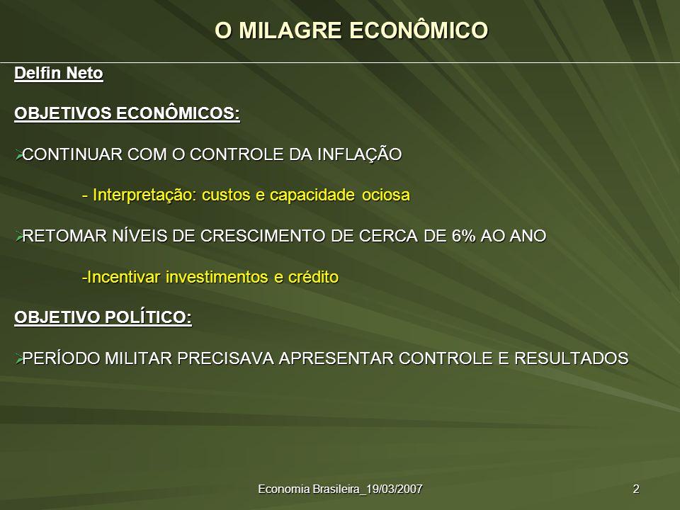 Economia Brasileira_19/03/2007 2 O MILAGRE ECONÔMICO Delfin Neto OBJETIVOS ECONÔMICOS: CONTINUAR COM O CONTROLE DA INFLAÇÃO CONTINUAR COM O CONTROLE D