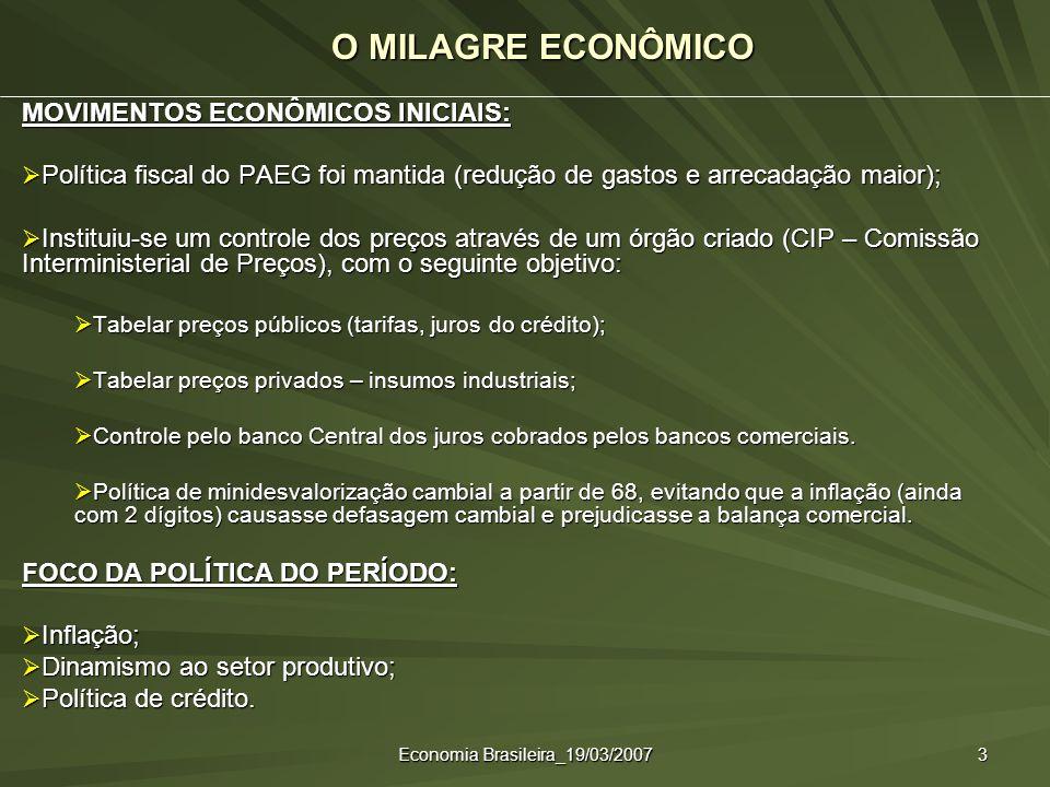 Economia Brasileira_19/03/2007 3 O MILAGRE ECONÔMICO MOVIMENTOS ECONÔMICOS INICIAIS: Política fiscal do PAEG foi mantida (redução de gastos e arrecada
