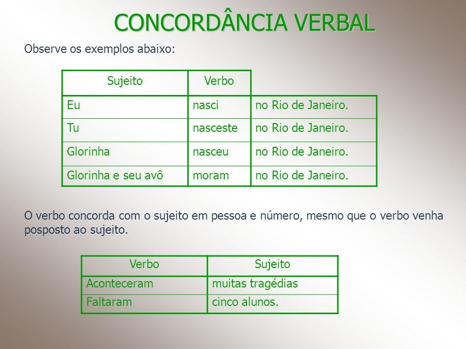 CONCORDÂNCIA VERBAL Observe os exemplos abaixo: SujeitoVerbo Eunascino Rio de Janeiro. Tunascesteno Rio de Janeiro. Glorinhanasceuno Rio de Janeiro. G