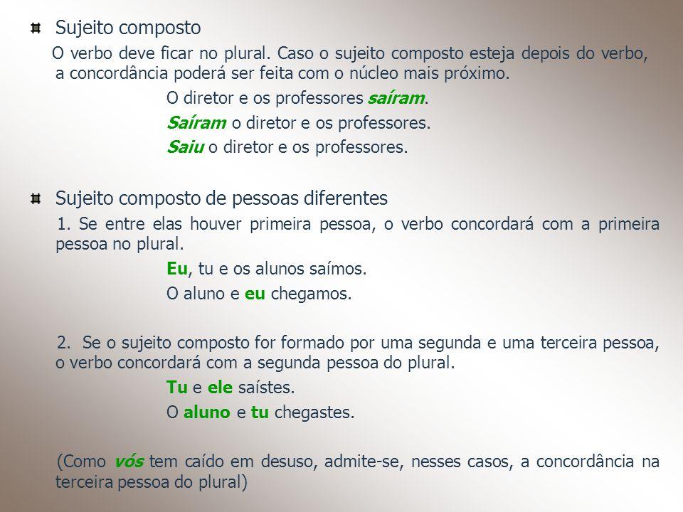 Sujeito composto O verbo deve ficar no plural. Caso o sujeito composto esteja depois do verbo, a concordância poderá ser feita com o núcleo mais próxi