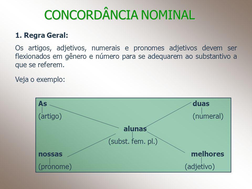 CONCORDÂNCIA NOMINAL 1. Regra Geral: Os artigos, adjetivos, numerais e pronomes adjetivos devem ser flexionados em gênero e número para se adequarem a