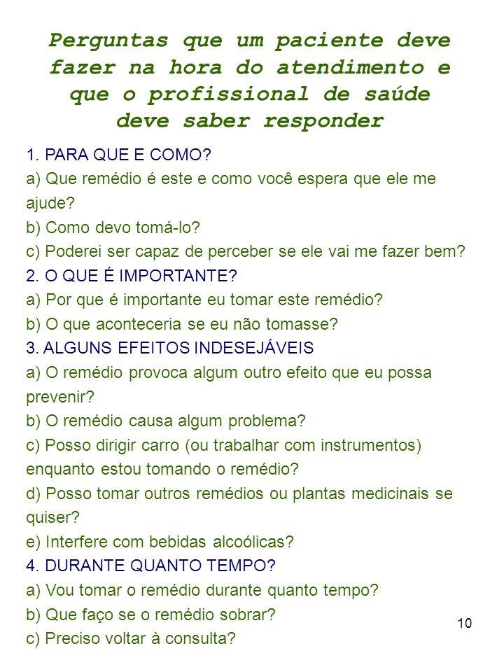 10 Perguntas que um paciente deve fazer na hora do atendimento e que o profissional de saúde deve saber responder 1.