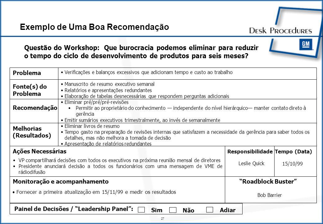 27 Exemplo de Uma Boa Recomendação Questão do Workshop: Que burocracia podemos eliminar para reduzir o tempo do ciclo de desenvolvimento de produtos para seis meses.